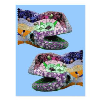 Mosaicos da cabeça do lagarto de Gaudi Cartão Postal