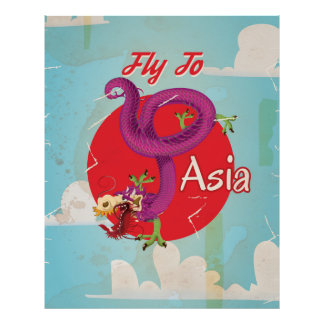 Mosca ao poster das viagens vintage de Ásia Pôster