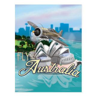 Mosca do vintage ao poster de viagens de Austrália Cartão Postal