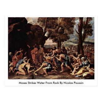 Moses golpeia a água da rocha por Nicolas Poussin Cartão Postal