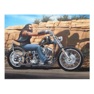 Mostra dos sonhos do gajo do motociclista nas cartão postal