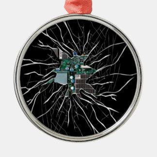 Mostrar de vidro rachado dos eletrônicos do ornamento redondo cor prata