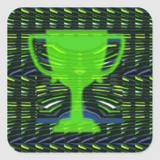 Motivação verde do vencedor do copo do troféu do adesivo quadrado