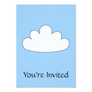 Motivo branco da nuvem. No azul Convite 12.7 X 17.78cm