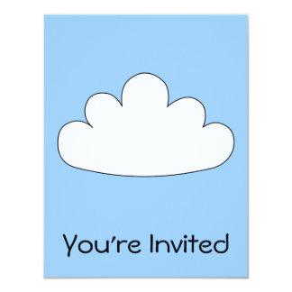 Motivo branco da nuvem. No azul Convite 10.79 X 13.97cm