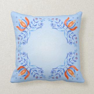 Motivo floral azul almofada