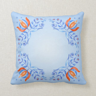 Motivo floral azul travesseiro de decoração