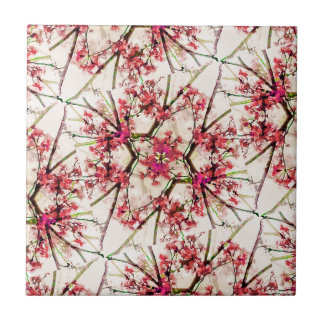 Motivo floral da colagem geométrica vermelha da azulejo de cerâmica