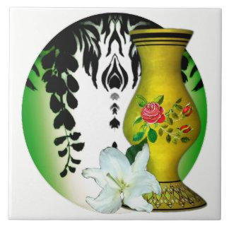 Motivo floral do verde floral branco do vaso do