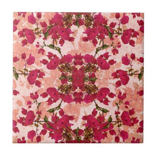 Motivo floral do vintage retro azulejo de cerâmica