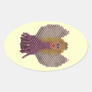 Motivo frisado do anjo adesivos em formato ovais
