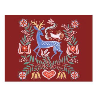 Motivo húngaro dos cervos do vintage cartão postal