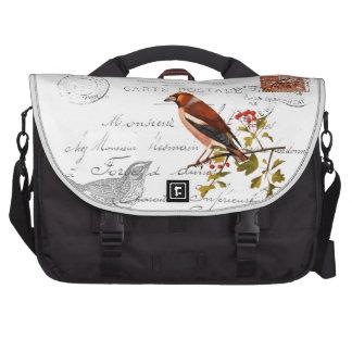 Motivo nostálgico com pássaro maletas para notebooks