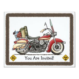 Motocicleta bonito convite 10.79 x 13.97cm