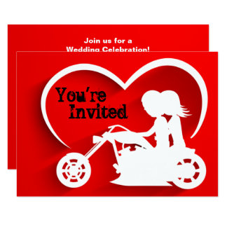 Motocicleta da equitação do casal, convite do