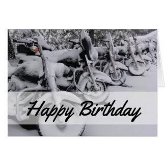 Motocicletas no cartão de aniversário do inverno