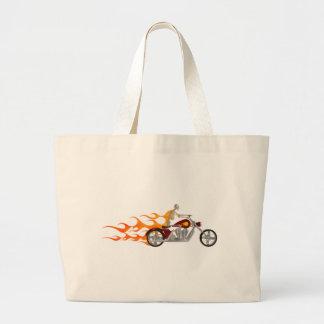 Motociclista & chamas de esqueleto: sacola tote jumbo