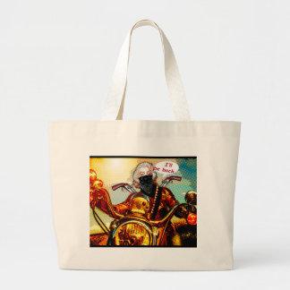 motociclista da história em quadrinhos grande bolsa tote grande