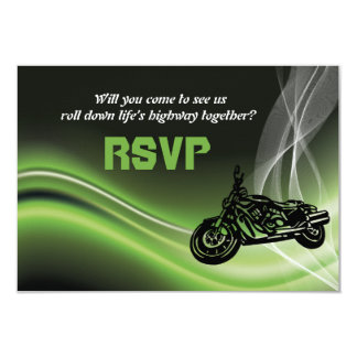 Motociclista/motocicleta verdes da estrada que convite 8.89 x 12.7cm