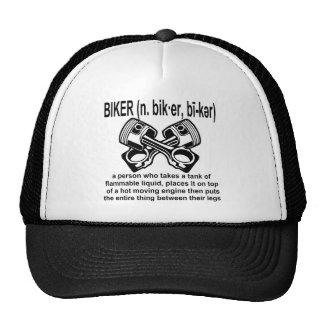 Motociclista (n) definição: Uma pessoa de que tome Boné