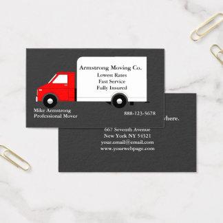 Motor movente do caminhão da empresa de mudanças cartão de visitas