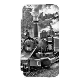 Motor preto e branco do trem do vapor do vintage