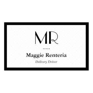 Motorista da entrega - monograma à moda limpo cartão de visita