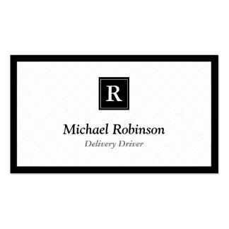 Motorista da entrega - monograma elegante simples cartão de visita