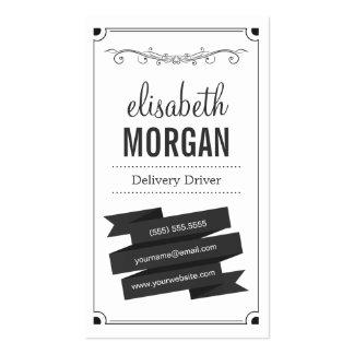 Motorista da entrega - preto e branco retro cartão de visita