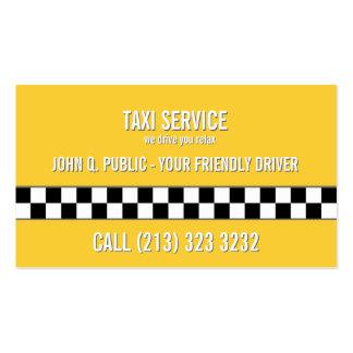 Motorista de táxi o simples do táxi tomado partido cartão de visita