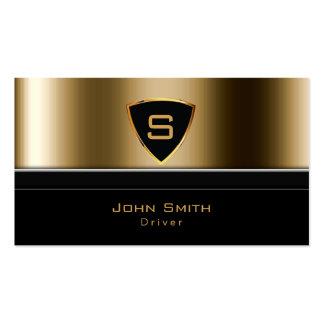 Motorista luxuoso do monograma do ouro do serviço cartão de visita