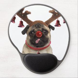 Mouse Pad De Gel Antlers do Pug - pug do Natal - Feliz Natal