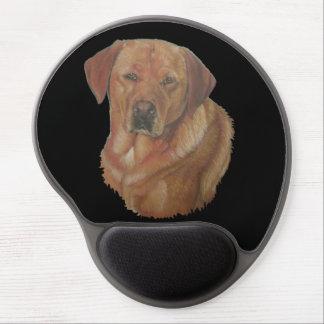 Mouse Pad De Gel arte amarela do retrato do cão do retreiver de