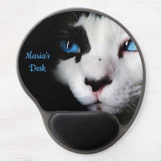 Mouse Pad De Gel Azul misterioso gato Eyed do smoking