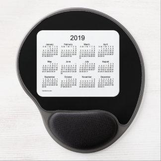 Mouse Pad De Gel Calendário 2019 preto pelo tapete do rato do gel