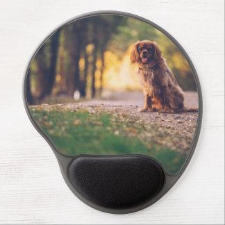 Mouse Pad De Gel Cão dourado do Spaniel que arfa no sol no trajeto