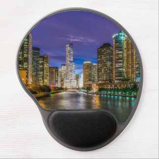Mouse Pad De Gel Chicago Illinois na noite