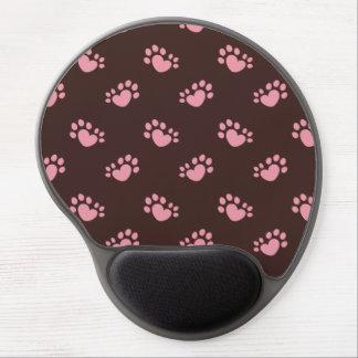 Mouse Pad De Gel Coração Polydactyl do impressão da pata do gato