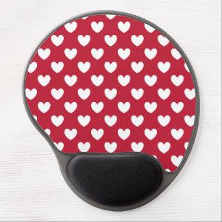 Mouse Pad De Gel Corações brancos e vermelhos da polca