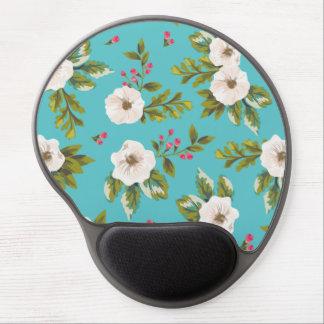 Mouse Pad De Gel Flores brancas que pintam no fundo de turquesa