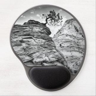 Mouse Pad De Gel Foto preto e branco da árvore dos bonsais de Zion