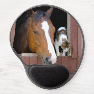 Mouse Pad De Gel Gato e cavalo - rancho do cavalo - amantes do