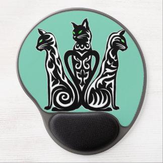 Mouse Pad De Gel gatos pretos, listras brancas, design abstrato