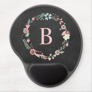 Mouse Pad De Gel Grinalda floral do monograma do quadro do vintage
