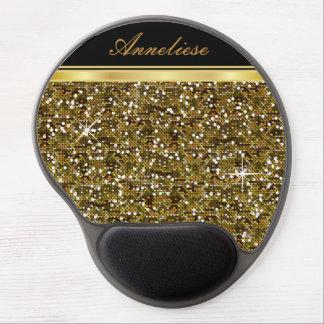 Mouse Pad De Gel Impressão dos confetes do brilho do ouro