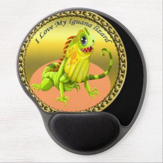 Mouse Pad De Gel Lagarto feliz da iguana da natureza do verde