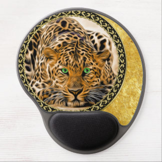 Mouse Pad De Gel Leopardo do olho verde com folha de ouro manchada
