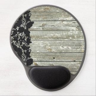 Mouse Pad De Gel madeira cinzenta do celeiro do laço gasto do preto
