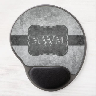 Mouse Pad De Gel Monograma cinzento sujo