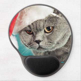 Mouse Pad De Gel Natal cinzento do gato - gato do Natal - gato do